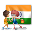 Two boys playing basketball in front of the Indian vector image vector image