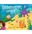Underwater world with different sea animals
