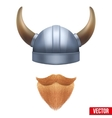 Viking symbol with horned helmet and beard vector image vector image