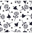 vintage black and white roses background floral vector image vector image