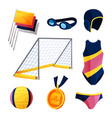water polo equipment or swim game accessories set vector image vector image