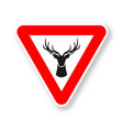 wild animals road sign silhouette deer head vector image
