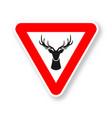 wild animals road sign silhouette deer head vector image