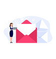 woman and mail email messaging girl vector image vector image