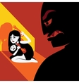 Woman hides the child from male silhouette vector image