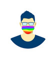 young man character in protection face mask lgbt vector image vector image