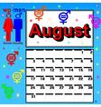 calendar for August festival womens vector image
