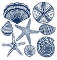 hand-drawn maritime set vector image