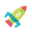 bitcoin rocket ship launching into space vector image