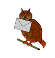 A funny owl with a letter in his beak vector image vector image