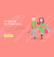 beautiful woman shopping cartoon flat icon vector image