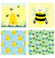 bees and honey collection two cards and two vector image vector image
