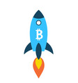 bitcoin rocket ship launching into space vector image vector image