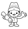 black and white happy cook mascot receive a vector image vector image