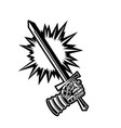 black and white sword and gauntlet graphic vector image