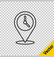black line location with clock icon isolated on vector image vector image