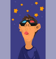 boy watching 3d stars movies with glasses vector image