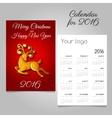 Calendar for 2016 with a Golden reindeer vector image
