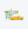 car taxi on the map background vector image vector image