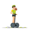 cartoon girl riding on electric scooter vector image vector image