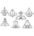 cartoon set of spaceship spacecraft designs vector image