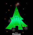 christmas tree over black glowing background vector image vector image