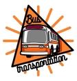 Color vintage bus transportation emblem vector image vector image