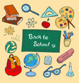 colorful back to school hand-drawn doodle set vector image vector image