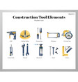 construction tool elements gradient pack vector image