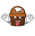 crazy bread basket mascot cartoon vector image vector image