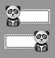 cute and funny panda character with banner vector image vector image