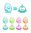 cute colorful eggs with little funny monsters vector image vector image