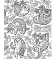 Cute sloths with floral ornament in outline