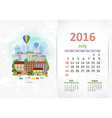 Cute sweet cityscape calendar for 2016 July vector image vector image