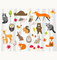 cute wild animals cartoon set vector image vector image