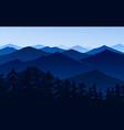 dark blue mountains amazing foggy layered vector image