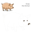 Draw the animal pig educational game vector image vector image