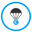 Euro Parachute Circled Icon vector image