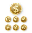 gold coins set realistic money sign vector image vector image