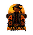 halloween scarecrow happy vector image