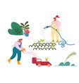 happy characters working in summer garden man vector image
