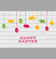 happy easter card with hanging stickers vector image vector image