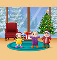happy kids celebration a christmas in the home vector image