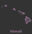 Hawaii Islands line art map vector image vector image