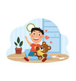 little boy carrying his favorite toy vector image