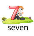 little pantomime boy act with the 7 balloon number vector image vector image