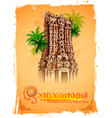 meenakshi temple on background for happy onam vector image vector image
