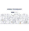 Mobile Technology Doodle Concept vector image vector image