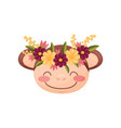 monkey with flower wreath flora and fauna concept vector image
