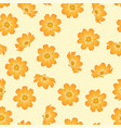 orange yellow cosmos flower on beige ivory vector image vector image